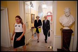 September 26, 2016 - London, United Kingdom - Image ©Licensed to i-Images Picture Agency. 13/07/2016. London, United Kingdom. Theresa May Becomes the New Prime Minister. The New British Prime Minister Theresa May arrives in No10 Downing  Street for the first time as  Prime Minister.  Theresa May with her husband Philip leave   No10 on the first night Theresa May got in.  Picture by Andrew Parsons / i-Images (Credit Image: © Andrew Parsons/i-Images via ZUMA Wire)