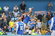 Sheffield Wednesday forward Steven Fletcher (9) battles in the air during the EFL Sky Bet Championship match between Sheffield Wednesday and Sheffield Utd at Hillsborough, Sheffield, England on 24 September 2017. Photo by Phil Duncan.