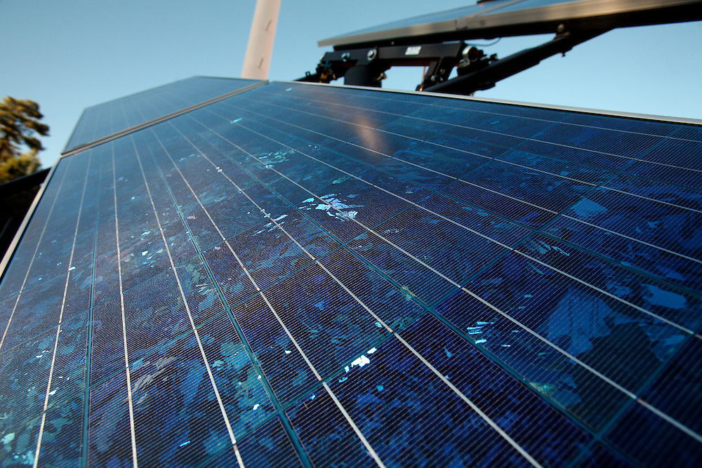 A solar panel on the campus of New World College in Montezuma, New Mexico.