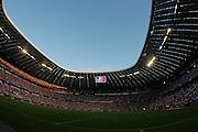 15.08.2007,    Fußball Abschiedsspiel Mehmet Scholl (Beckenbauer-Cup), FC Bayern München - FC Barcelona, Das Stadiondach in der Allianz-Arena unter Blauem Himmel.