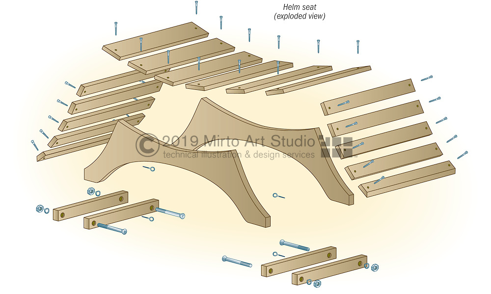 A vector illustration showing how to fabricate a helm seat for a sailboat.