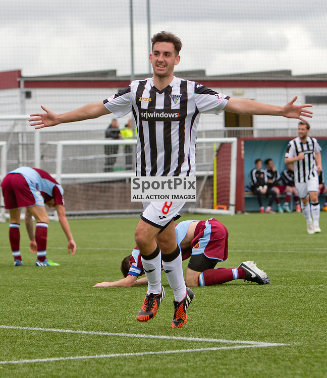 Stenhousemuir v Dunfermline Athletic SPFL League One Season 2015/16 Ochilview Park 19 September 2015<br /> Shaun Byrne celebrates making it 3-0<br /> CRAIG BROWN | sportPix.org.uk