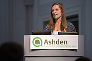 Brooke Segerberg, Country Director – Rwanda, Bridges to Prosperity speaking at the Ashden 2016 International Conference:  Moving up the energy ladder: How can we amplify electricity access? <br /> Held at the RCN, London. UK.