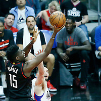 01 March 2017: Houston Rockets center Clint Capela (15) goes for the layup past LA Clippers guard J.J. Redick (4) during the Houston Rockets 122-103 victory over the LA Clippers, at the Staples Center, Los Angeles, California, USA.
