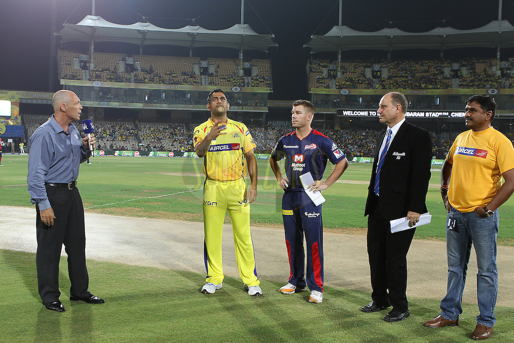 MS Dhoni and David Warner at the toss during match 64 of the Pepsi Indian Premier League between The Chennai Superkings and the Delhi Daredevils held at the MA Chidambaram Stadium in Chennai on the 14th May 2013..Photo by Ron Gaunt-IPL-SPORTZPICS   .. .Use of this image is subject to the terms and conditions as outlined by the BCCI. These terms can be found by following this link:..http://www.sportzpics.co.za/image/I0000SoRagM2cIEc