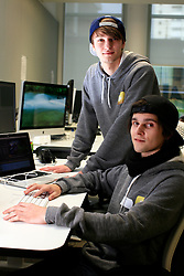 UK ENGLAND LONDON 4DEC12 - Ardian Bora (20) and Tom Ravach (22, L-R) of mirrorzfx in the editing room at the YouTube Creator Space offices in central London.....25 winners from YouTube's NextUp competetion were selected to receive an all-expenses paid trip to London where they are attending a week of training and mentorship.....jre/Photo by Jiri Rezac....© Jiri Rezac 2012