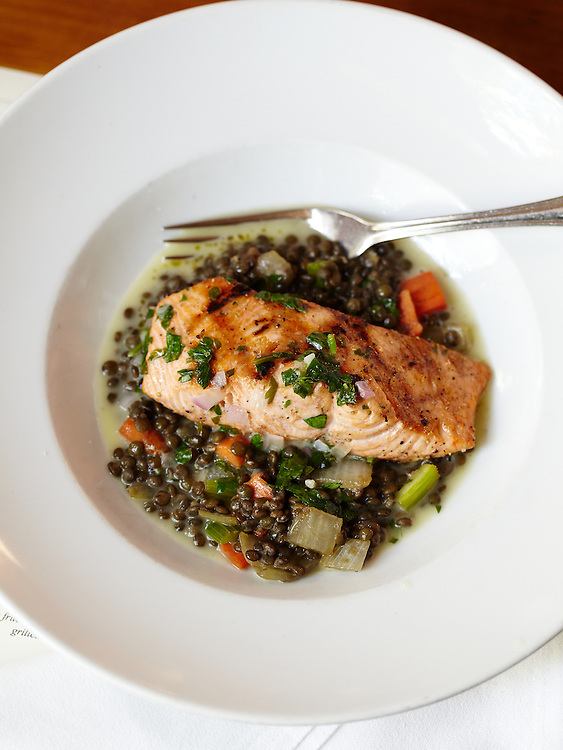 Salmon Over Lentils.  Chef Frank Stitt.  Chez Fon Fon Restaurant in Birmingham, Alabama.