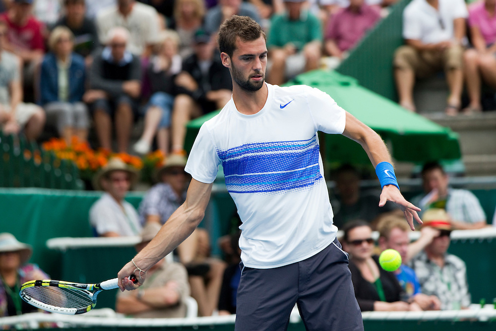 France's Benoit Paire in his quarterfinal singles match against Belgium's Olivier Rochus at the Heineken Open Men's Tennis Tournament, Auckland, New Zealand, Thursday, January 12, 2012.  Credit:SNPA / David Rowland