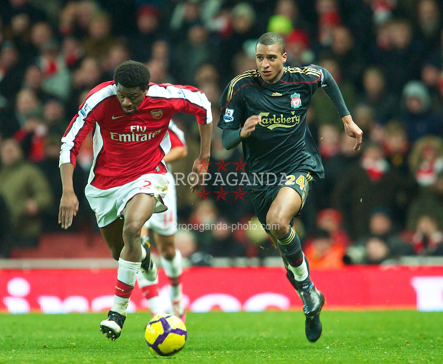 LONDON, ENGLAND - Wednesday, February 10, 2010: Liverpool's xxxx and Arsenal's xxxx during the Premiership match at the Emirates Stadium. (Photo by David Rawcliffe/Propaganda)