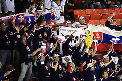 Fans of Slovakia at ice-hockey match Slovakia vs Norway at Preliminary Round (group C) of IIHF WC 2008 in Halifax, on May 03, 2008 in Metro Center, Halifax, Canada. (Photo by Vid Ponikvar / Sportal Images)