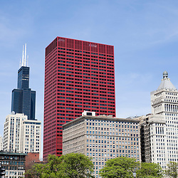 Photo of Chicago downtown with Willis Tower (Sears Tower), CNA Building, McCormick Building, and Metropolitan Tower.