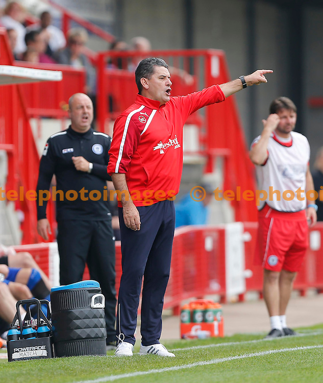 James Boardman / TELEPHOTO IMAGES 07967642437<br /> Crawley&rsquo;s Manager John Gregory gestures to his players during the Sky Bet division one match between Crawley Town and Rochdale at the Checkatrade.com Stadium in Crawley. September 6, 2014.