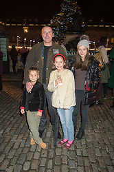 Left to right, MATTHEW DU CANN, DYLAN DU CANN, TATIANA DU CANN and ALLEGRA HANDLESMAN  at the launch of Skate at Somerset House in association with Fortnum & Mason held at Somerset House, The Strand, London on 17th November 2015.
