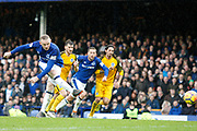 Everton striker Wayne Rooney (10) misses the penalty in the second half during the Premier League match between Everton and Brighton and Hove Albion at Goodison Park, Liverpool, England on 10 March 2018. Picture by Craig Galloway.