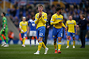 Disappointed Leeds United forward Jack Clarke (47)  applauds the fans at full time during the EFL Sky Bet Championship match between Birmingham City and Leeds United at St Andrews, Birmingham, England on 6 April 2019.