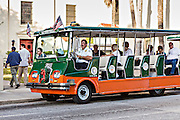 Old Town Trolly tour tram in St. Augustine, Florida. St Augustine is the oldest city in America.