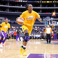 24 August 2014: Los Angeles Sparks forward Nneka Ogwumike (30) warms up prior to the Phoenix Mercury 93-68 victory over the Los Angeles Sparks, in a Conference Semi-Finals at the Staples Center, Los Angeles, California, USA.