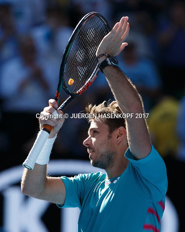 STAN WAWRINKA (SUI) bedankt sich beim Publikum nach seinem Sieg,<br /> <br /> Australian Open 2017 -  Melbourne  Park - Melbourne - Victoria - Australia  - 24/01/2017.