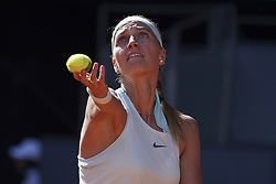 May 6, 2019 - Madrid, Spain - Petra Kvitova of the Czech Republic serves a ball in her match against Kristina Mladenovic of France during day three of the Mutua Madrid Open at La Caja Magica on May 06, 2019 in Madrid, Spain. (Credit Image: © Oscar Gonzalez/NurPhoto via ZUMA Press)