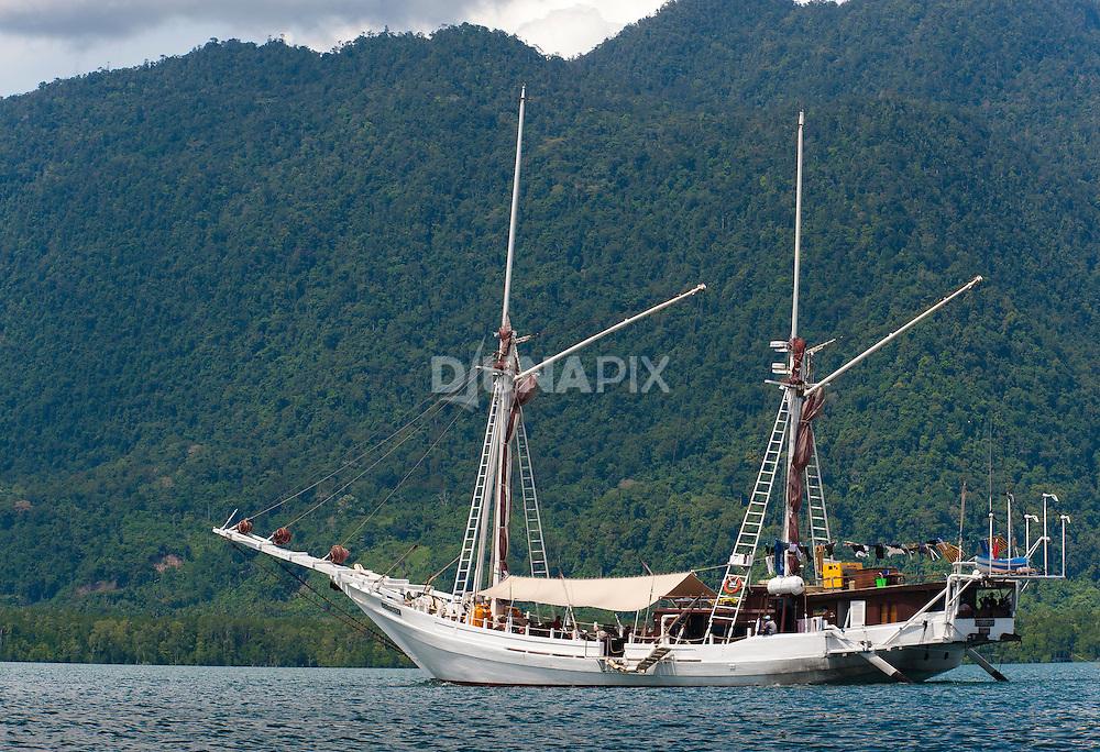 Tourism charter boat Katharina in Namatota Strait, Kaimana area, Papua