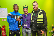 Forest Green Rovers Drissa Traoré(4) being presented with his MOM award during the EFL Sky Bet League 2 match between Forest Green Rovers and Swindon Town at the New Lawn, Forest Green, United Kingdom on 22 September 2017. Photo by Shane Healey.