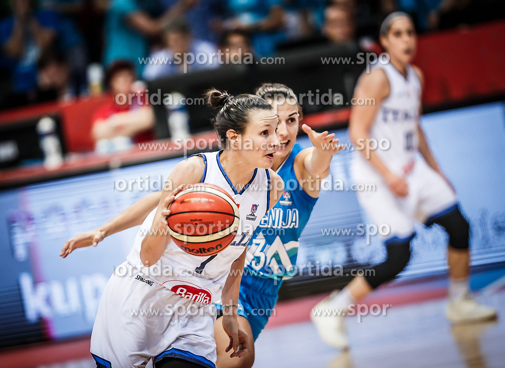 Giorgia Sottana of Italy vs Teja Oblak of Slovenia during basketball match between Women National teams of Italy and Slovenia in Group phase of Women's Eurobasket 2019, on June 30, 2019 in Sports Center Cair, Nis, Serbia. Photo by Vid Ponikvar / Sportida