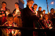 TORONTO, ON; APRIL 08, 2005 -- POPE VIGIL -- Members of the White Eagle Song and Dance Ensemble - a Polish song and dance troupe - hold candles in remembrance of Pope John Paul II just before performing for the thousands that gathered on Roncesvalles Ave. in Toronto April 8 to mourn the late pope.&amp;#xD;<br />