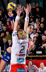 Szandra Zacsik of Krim and block of Tonje Larsen of Larvik during 3rd Main Round of Women Champions League handball match between RK Krim Mercator, Ljubljana and Larvik HK, Norway on February 19, 2010 in Arena Kodeljevo, Ljubljana, Slovenia. Larvik defeated Krim 34-30. (Photo by Vid Ponikvar / Sportida)