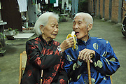 Zhejiang, China - 25th September, 2014<br /> <br /> Couple from China have been married for 83 years<br /> <br /> The wife Xiaoqiu Shi, 99 years old, husband Yuzhi Jin, 98 years old. They have seven children, five sons and two daughters.<br /> Shi and Yuzhi have been together since they were young as friends at first from the ages of Six years old, Shi and  Yuzhi,Five years old<br /> <br /> When Shi and Jin grew up, they decided to get married and now 83 years on there still remain as a happy couple<br /> ©Exclusivepix