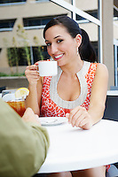 Woman on a Date in a Coffee Shop