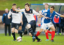Falkirk's Blair Alston and Cowdenbeath's James Fowler.<br /> Cowdenbeath 0 v 2 Falkirk, Scottish Championship game today at Central Park, the home ground of Cowdenbeath Football Club.<br /> &copy; Michael Schofield.