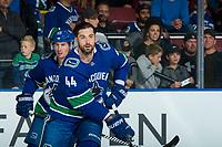 KELOWNA, BC - SEPTEMBER 29:  Erik Gudbranson #44 of the Vancouver Canucks warms up against the Arizona Coyotes at Prospera Place on September 29, 2018 in Kelowna, Canada. (Photo by Marissa Baecker/NHLI via Getty Images)  *** Local Caption *** Erik Gudbranson;