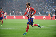 Forward Antoine Griezmann of Atletico de Madrid celebrates scoring 1st goal for his team during the UEFA Europa League, Final football match between Olympique de Marseille and Atletico de Madrid on May 16, 2018 at Groupama Stadium in Decines-Charpieu near Lyon, France - Photo Jean-Marie Hervio / ProSportsImages / DPPI