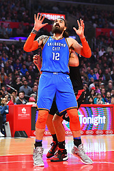 March 8, 2019 - Los Angeles, CA, U.S. - LOS ANGELES, CA - MARCH 08: Oklahoma City Thunder Center Steven Adams (12) boxes out for a rebound during a NBA game between the Oklahoma City Thunder and the Los Angeles Clippers on March 8, 2019 at STAPLES Center in Los Angeles, CA. (Photo by Brian Rothmuller/Icon Sportswire) (Credit Image: © Brian Rothmuller/Icon SMI via ZUMA Press)
