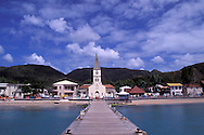 Pier leading towards church, les Anses d'Arlets, Martinique, Caribbean