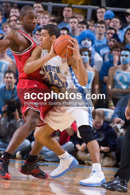 12 January 2008: North Carolina Tar Heels forward Danny Green (14) during a 62-93 win over the North Carolina State Wolfpack at the Dean Smith Center in Chapel Hill, NC.