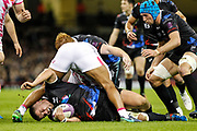 Ospreys prop Nicky Smith hits the floor during the European Challenge Cup match between Ospreys and Stade Francais at Principality Stadium, Cardiff, Wales on 2 April 2017. Photo by Andrew Lewis.
