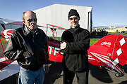 Peter Menzel and Bjorn Thoroddsen in front of a Pitts Special in Reykjavik Iceland right before they went flying.
