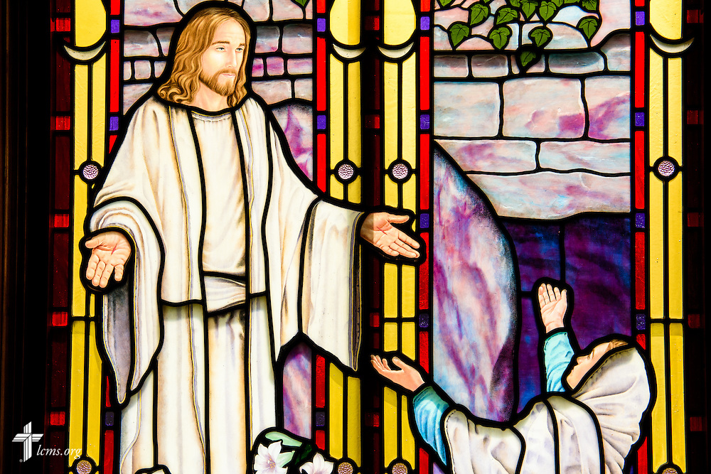 Stained glass at St. Paul Evangelical Lutheran Church in Columbus, Ind., depicts the resurrection of Jesus Christ, photographed Sunday, April 10, 2016. LCMS Communications/Erik M. Lunsford