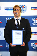Auckland Under 18 player Oliver Shepherd  with his award during the Auckland Rugby awards night held at Eden Park on the 25th of October 2017. <br /> Credit; Peter Meecham/ www.photosport.nz