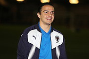 AFC Wimbledon attacker Egli Kaja (21) arriving at the ground during the EFL Trophy match between AFC Wimbledon and Luton Town at the Cherry Red Records Stadium, Kingston, England on 31 October 2017. Photo by Matthew Redman.