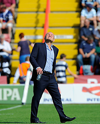 Bristol Director of Rugby Andy Robinson looks up to the sky - Photo mandatory by-line: Joe Meredith/JMP - Mobile: 07966 386802 - 7/09/14 - SPORT - RUGBY - Bristol - Ashton Gate - Bristol Rugby v Worcester Warriors - The Rugby Championship