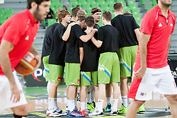 Team of Slovenia before basketball match in the context of Telemach tournament between National Teams of Slovenia and Iran on August 21, 2014 in SRC Stozice, Ljubljana, Slovenia. Photo by Urban Urbanc / Sportida.com