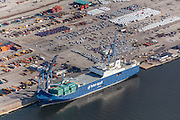 Baltimore Aerial photo of Bahri Vessel at Dundalk Marine Terminal by Jeffrey Sauers of Commercial Photographics, Architectural Photo Artistry in Washington DC, Virginia to Florida and PA to New England