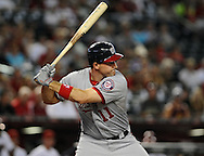 Aug. 10, 2012; Phoenix, AZ, USA; Washington Nationals infielder Ryan Zimmerman (11) reacts during the game against the Arizona Diamondbacks at Chase Field. The Nationals defeated the Diamondbacks 9-1. Mandatory Credit: Jennifer Stewart-US PRESSWIRE