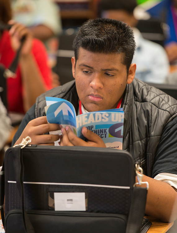 Students work with their new laptops at Kashmere High School, January 14, 2014.