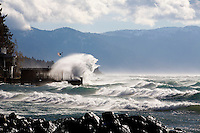 Huge waves smack into Captain John's in Tahoe Vista, CA