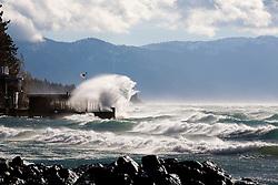 Huge waves smack into Captain John's in Tahoe Vista, CA