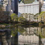 The landmark Plaza Hotel on Fifth Avenue and 59th Street in New York City  as seen from Central Park