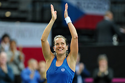 November 10, 2018 - Prague, Czech Republic - Barbora Strycova of the Czech Republic celebrate after winnig game during the 2018 Fed Cup Final between the Czech Republic and the United States of America in Prague in the Czech Republic. (Credit Image: © Slavek Ruta/ZUMA Wire)